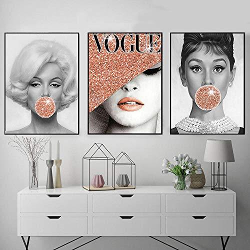 JEfunv Berühmte Stern Poster und Drucke Audrey Hepburn Kaugummi Vogue Fashion Lady mit Hut Wandkunst Poster Moderne Wandbilder Dekor-50x70cm No Frame