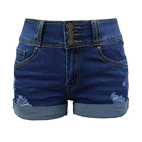 Guiran Pantalones Vaqueros Cortos Mujer Cintura Alta Bermudas Elasticos Rotos Push Up Boyfriend Jeans Shorts Azul Oscuro S
