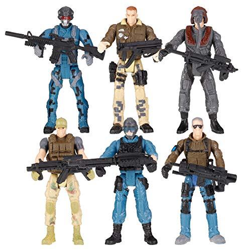 Smilcloud 6 Stück Soldat Figur Spielzeug Actionfigur Armee Soldaten Spielzeug mit Waffen Action Figure...