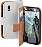 moex Handyhülle für LG Google Nexus 4 - Hülle mit Kartenfach, Geldfach & Ständer, Klapphülle, PU Leder Book Hülle & Schutzfolie - Weiß