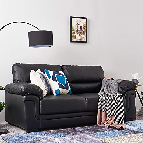 Panana 3 Seater Corner Sofa in Faux Leather Modern Sofa Settee Couch for Living Room Office Lounge (Black, 3 Seater)