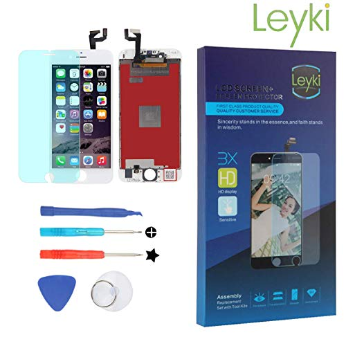 LEYKI LCD Touch Screen Replacement Digitizer for iPhone 6 4.7'' Screen Display Assembly Full Set Repair Tool Kit (White)