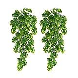 RNSUNH 2 plantas artificiales colgantes de palma, hojas de vides, simulación de verdes, guirnalda de hojas para colgar en la pared, para el hogar, boda, decoración exterior, 25 pulgadas