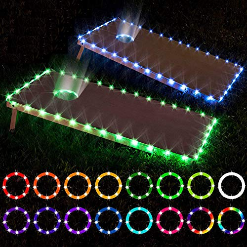 LED Cornhole Lights, Remote Control Cornhole Board Edge and Ring LED Lights, 16Color change by yourself, a great addition for playing Bean Bag Toss Cornhole game at the family backyard at night,2 sets