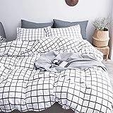 AShanlan 2 TLG. Bettwäsche Kariert 135x200 cm + 1 Kissenbezug 80x80 cm weiß Kariert Bettbezug...