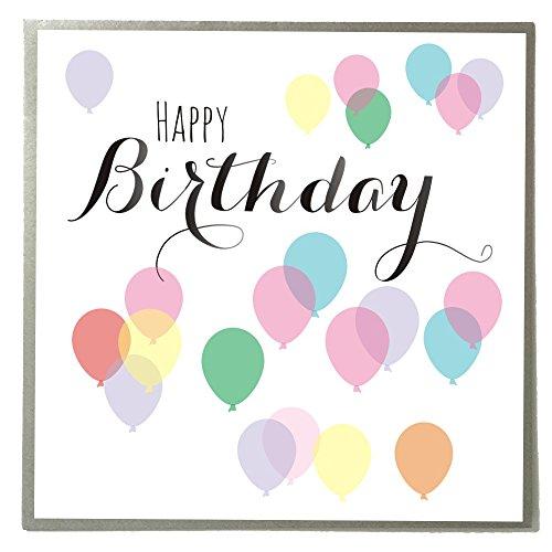 Kiel Claire Giles Geburtstagskarte farbige Luftballons