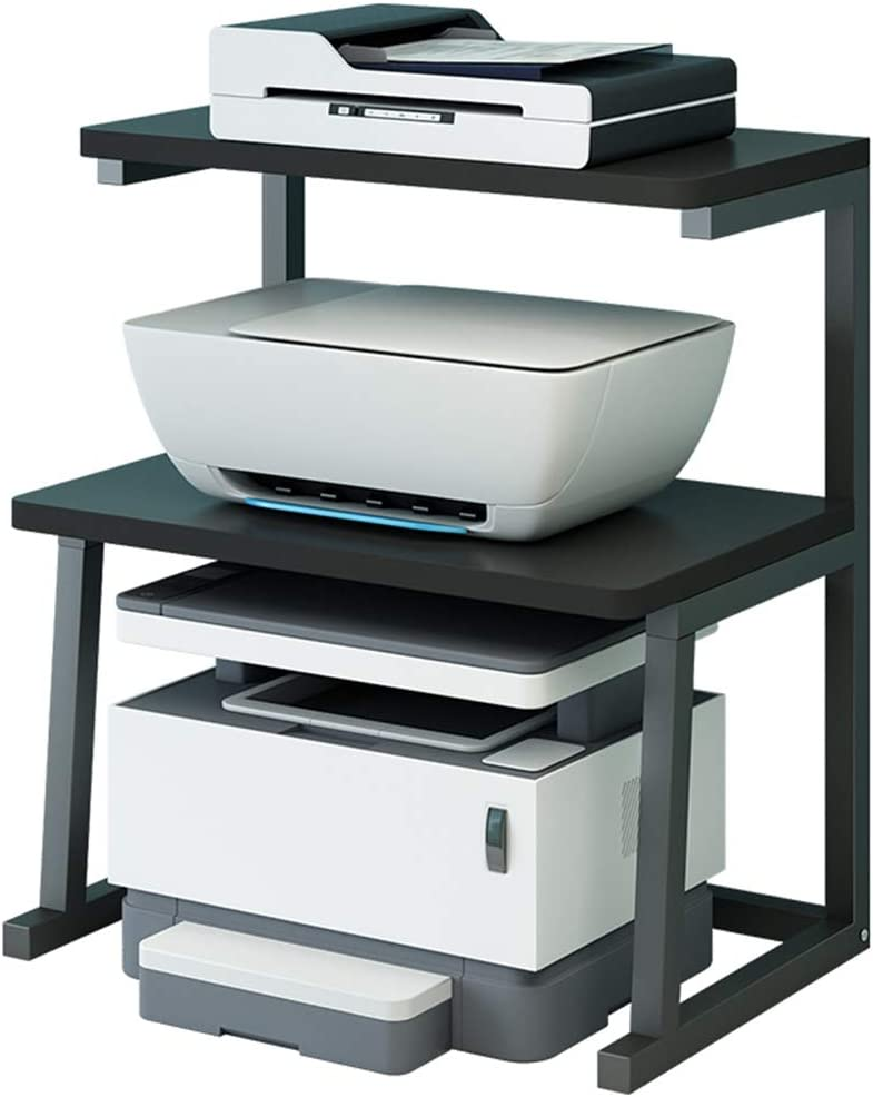 Printer Stand Desktop Stand for Printer 3-Tier Multifunction Storage Book Shelf Floor Printer Table Space Organizer Perfect for Office Living Room Kitchen(Black): Home & Kitchen