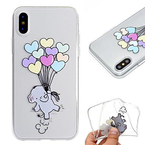Artfeel Klar Weich Silikon Hülle für iPhone XS, iPhone XS Handyhülle Niedlich Karikatur Elefant Ballon Muster,Ultra Dünn Leicht Transparent Flexibel TPU Bumper Stoßfest Zurück Schutzhülle