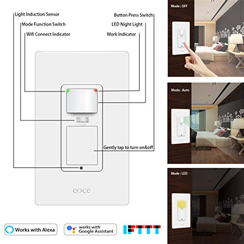 Motion Sensor Light Switch (2 Pack), Eoce Smart Switch with Motion Sensor, 10A Motion Light Switch, 3 Settings Modes, WiFi enabled, Remote Control and Timer, Compatible with Alexa and Google Home
