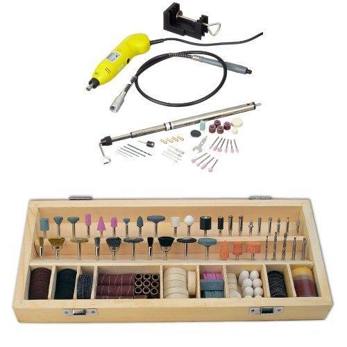 Mannesmann M92571 - Mini Taladro 130W + Mannesmann - M92568 - 200 piezas Juego de accesorios para multilijadora