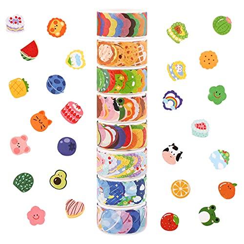Juego de cintas Washi, 8 rollos de bonitas pegatinas de cinta Washi, 800 piezas de pegatinas de diferentes diseños, cintas decorativas de 18 mm de ancho cinta adhesiva para bricolaje pegatinas