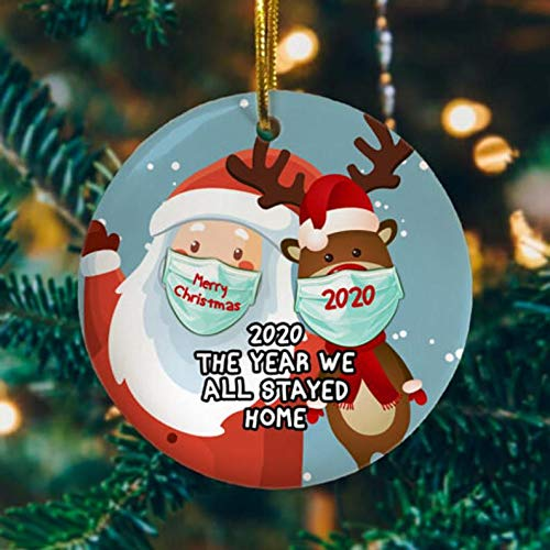 Christmas Ornament 2020 The Year We All Stayed Home Quarantined Keepsake Santa with Face Mask Ornament- 2020