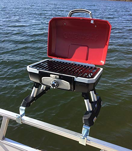 Cuisinart Grill Modified for Pontoon Boat with Arnall's Stainless Grill Bracket for Standard Railing with Open Fencing Set RED