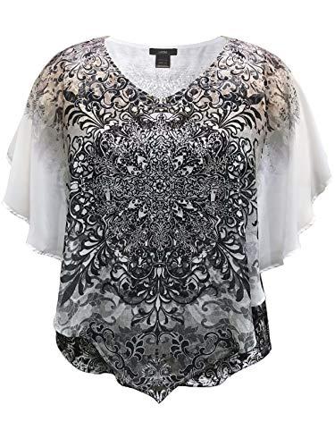 LEEBE Damen Große Größen - Doppelschicht Chiffon Poncho Bluse (DE 46-64) (1X (DE 46-48), Grau Medaillon)