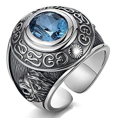 CHXISHOP Anillo de plata de ley 925 con topacio azul natural, anillo de gema para hombre, patrón de león