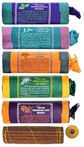 Incienso tibetano original importado de Nepal y Bután. Ofrecemos aquí un conveniente conjunto de: incienso de hierbas (menta), té verde, azafrán (Shar nagke), hierba de limón, especias del Himalaya. 30 piezas, 11 cm de longitud.