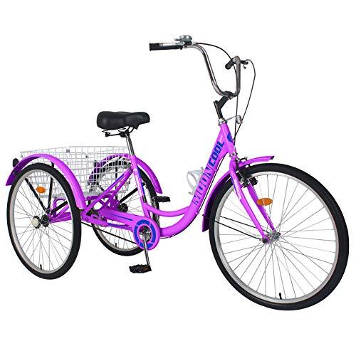 AJ FASHION 16'/20'/24' una Velocidad Triciclo 3 Ruedas Triciclo Bicicleta para Adolescente Beginning Jinete Ciclismo para Compras Exterior Picnic Sports - Brillante Morado, 26'