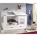 Lomadox Baumhaus Kinderbett Liegefläche 90 x 200 cm und Bettschublade
