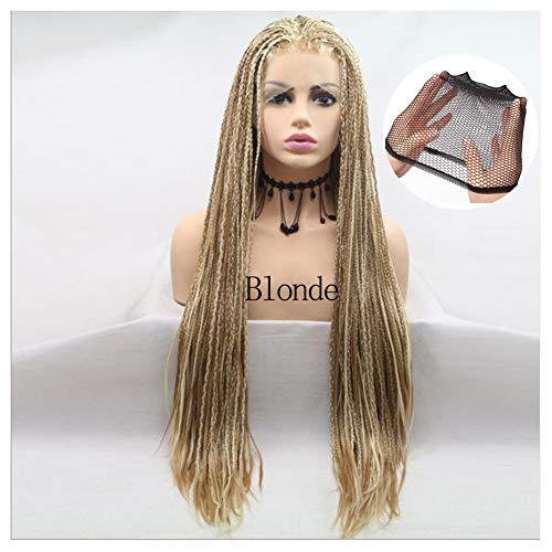 SCKL Perruques Lace Front synthétique Blonde tressées Longues Afro Filles Micro boîte Tresses Mix Couleur Blond Brun Glueless Chaleur Cheveux résistant pour Les Femmes Party,Blonde
