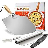 Pala para Pizza, Cortador y Rebanador de Pizza, Pala de Pizza de Metal de Aluminio con Mango de Madera Plegable, Diseño Antiadherente, para Hornear Pizza Casera, Pastel, 30,5 cm x 35,6 cm (12 'x14')