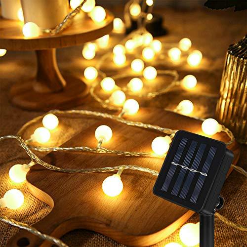 Guirnalda Luces Exterior Solar, 60 LED 8M Cadena Solar de Luces, IP65 Impermeable Cadena de Luces Decoracion, 8 Modos Guirnaldas Luces Solar para Exterior, Interior, Jardin, Boda, Fiesta, Festival