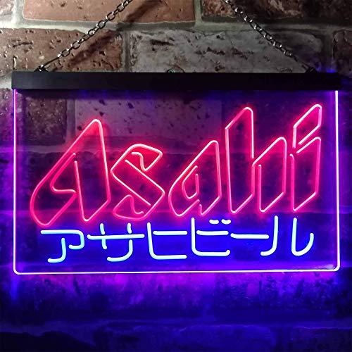 zusme Asahi Japan Beer Bar Novelty LED Neon Sign Blue + Red W30cm x H20cm