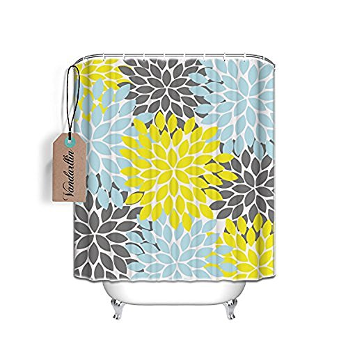 Vandarllin Multicolor Dahlia Pinnata Flower Customized Extra Long Bathroom Shower Curtain- Waterproof Polyester Fabric Bath Curtain Design,Yellow,Grey,Blue,72' W x 84' H