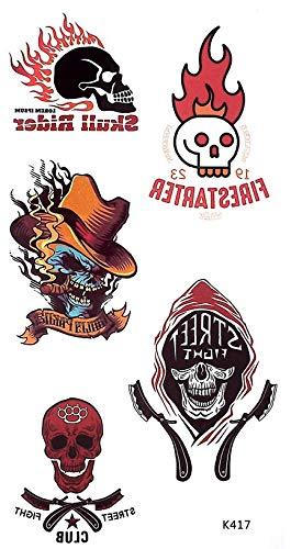tatuajes para fiesta de estilo motero, calavera, tatuajes para tatuajes K417