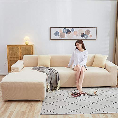 LKJHGF Housse de Canapé D'angleextensible con accoudoirs Couverture de Canapé en Forme de L Revêtement de Canapé en Tissu Élastique-Amarillo Senape 3 plazas + 4 plazas