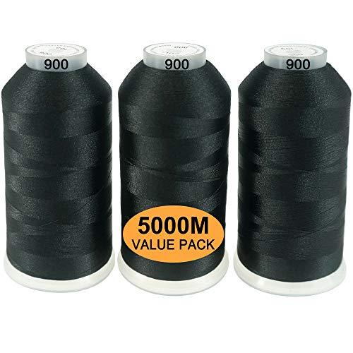 New brothread Conjunto de 3 Negro Colores Poliéster Bordado Máquina Hilo Grande carrete 5000M para todas las máquinas de bordado