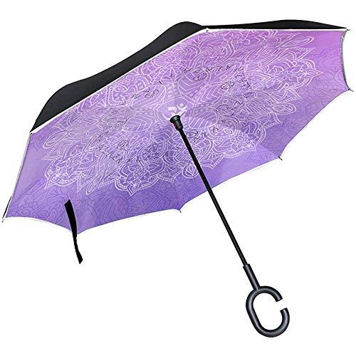 Mandala Auf Lila Hintergrund Umgekehrter Regenschirm Reverse Auto Open Double Layer Winddicht Uv-Schutz Auf Den Kopf Regenschirm Für Auto Regen