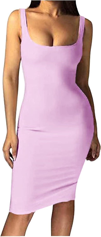 Sexy Bodycon Dress Women's Tank Dress Sleeveless Basic Club Party Mini Dresses