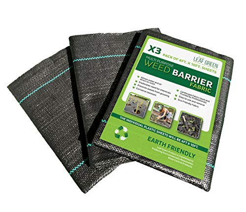 Leaf Green Weed Barrier Fabric 3 Pack 4ft by 10ft Sheets, Landscape Fabric, Soil Barrier, Landscaping Material
