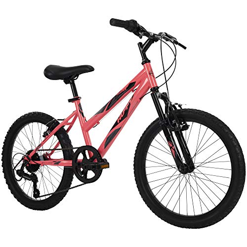 Huffy Kids Hardtail Mountain Bike for Girls, Summit Ridge 20 inch 6-Speed, Solar Flare
