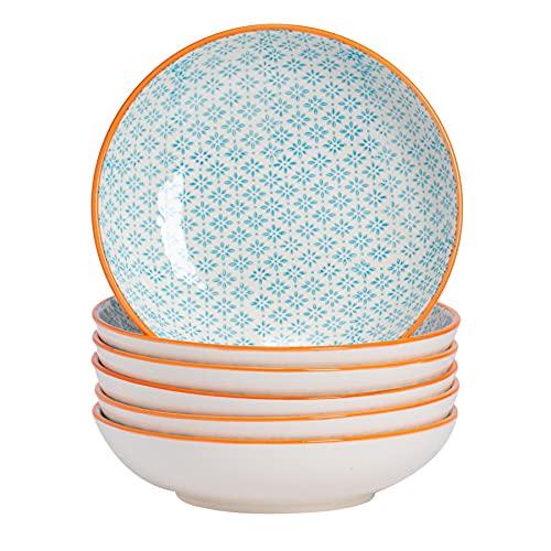 Nicola Spring Bols à pâtes Fantaisie en Porcelaine avec Motifs Bleu/Orange - Boîte de 6