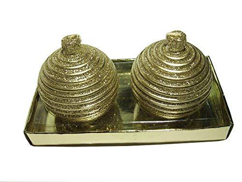 2 nobile candele albero sferiche colore oro Glitter 5,5 cm anello modello
