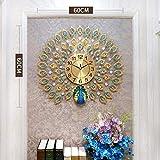LXYZ -Reloj de Pared de Pavo Real de Doble Cabeza de Cristal, Reloj de Pared con decoración artística de Personalidad Creativa, Reloj de Pared de Cristal Grande, Vida
