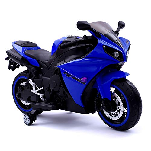 Yany Electric Motorrad für Kinder, Batteriebetrieben Elektromotorrad für Kleinkinder ab 3 Jahren Elektroroller, für Jungen Mädchen Geschenk Belastbarkeit 50kg, 65.5 x 117cm,Blau