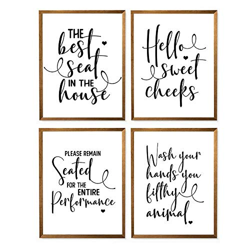"""The Best Seat In the House Bathroom Print - 8"""" x 10"""" - Unframed, Wash Your Hands You Filthy Animal Bathroom Poster, Funny Quote Farmhouse Decor, Sayings Toilet Wall Art, Bathroom Decor Set of 4"""
