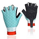 Darevie Cycling Gloves, Shock-Absorbing Half Finger Biking Gloves, Breathable Half Finger Bicycling Gloves, Anti-Slip Shockproof Gel Padded Mountain Bike Gloves for Man, Woman (Blue-White, XXL)