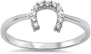 Horse Shoe Cubic Zirconia .925 Sterling Silver Ring Sizes 3-12