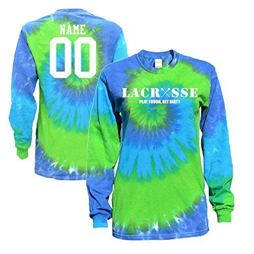 JANT girl Custom Lacrosse Blue Green Tie Dye Long Sleeve T-Shirt Lacrosse Logo (YL)
