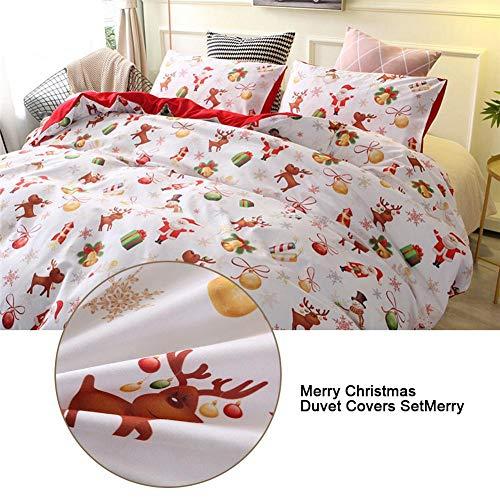 Funda nórdica de traje de tres piezas, funda de edredón festivo de Navidad + 2 fundas de almohada, funda nórdica...