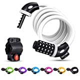 Bike Lock Cable,Famistar 4 Feet High Security 5 Digit Resettable Combination Coiling Bike Chain Lock with Mounting Bracket,Bicycle Cable Lock for Cycling Outdoors, 1.25mx12mm (White)