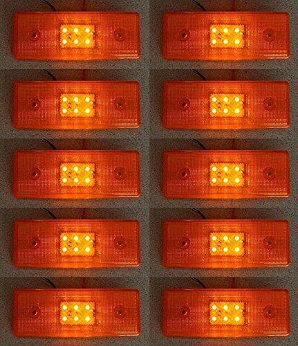 10 x Orange 24 V côté Outline Feux de gabarit avec 6 LED Châssis de remorque Camion caravane