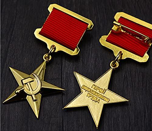 WERTY Medalla de Estrella Rusia Segunda Guerra Mundial URSS Medalla de Trabajo de Cinco Estrellas soviética con Pines Insignia CCCP