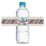AmandaCreation Wasserflaschen-Aufkleber mit Trampolin-Motiv, wasserdicht, 20 Stück à 4,4 x 21,6 cm