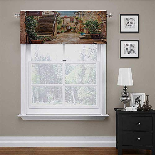"""carmaxs Kitchen Window Curtains Tuscan Decor Scalloped Valance Window Curtain View of an Old Mediterranean Street with Stone Rock Houses in Italian City Rural Culture Print 42"""" x 18"""" Multi"""