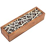 Iwinna 1pcs Wooden Pencil Box, Hollow Carved Stationery Craft Small Storage Organizer for Home School Office, 7.7 x 2.2 x 1.6inch(Geometric Patch)