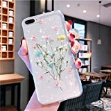 Bling Case for iPhone 8 Plus Flower Case,Girls Women Sparkly Shiny Glitter Bling Crystal Clear Soft Flexible Rubber Gel TPU Pressed Dry Real Flowers Case Floral Cover for iPhone 7 Plus Case,Pink A